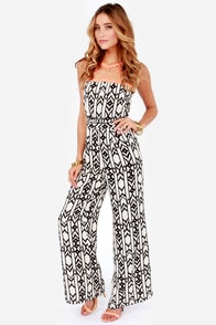 Called Away Black and Ivory Print Jumpsuit at Lulus.com!