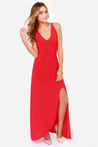 Hard to Get Backless Red Maxi Dress at Lulus.com!