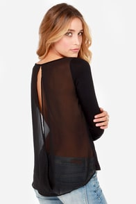 Casual at Once Black Long Sleeve Top at Lulus.com!