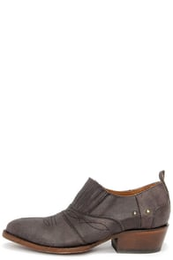 Matisse Roscoe Charcoal Leather Western Ankle Boots at Lulus.com!