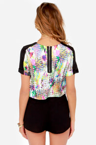 Pop Goes the Easel Multi Print Crop Top at Lulus.com!