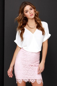 Faithfully Yours Pink Lace Pencil Skirt at Lulus.com!