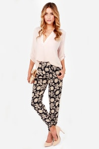 Cause a Stir Beige and Navy Blue Print Pants
