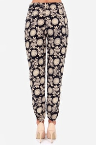 Cause a Stir Beige and Navy Blue Print Pants at Lulus.com!