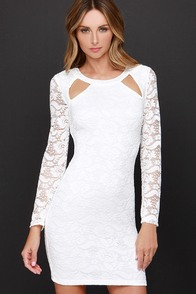 Cut-Outsider White Lace Long Sleeve Dress at Lulus.com!