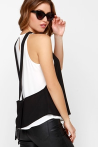 Strong Opposition Black and White Top at Lulus.com!