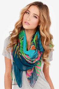 Under the Sea Blue Fish Print Scarf at Lulus.com!
