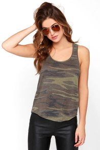 image About Face Olive Green Camo Print Tank Top