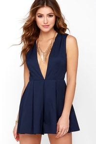 Back at it Again Navy Blue Romper at Lulus.com!