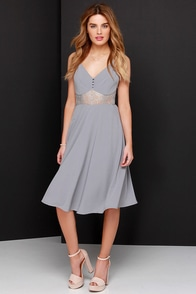 From Sheer to There Grey Lace Midi Dress at Lulus.com!