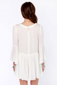 To the Swoon and Back Sheer Ivory Mini Dress at Lulus.com!