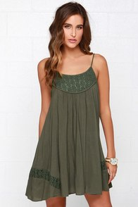 Time of Our Lives Olive Green Lace Dress at Lulus.com!