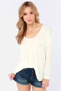 Cabin Packin' Oversized Ivory Top at Lulus.com!