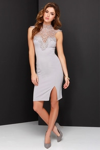 Renaissance Court Grey Lace Midi Dress at Lulus.com!
