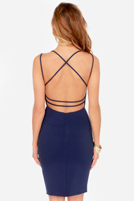 Be-All Trend-All Backless Navy Blue Midi Dress at Lulus.com!