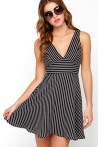 Do or Diagonal Ivory and Black Striped Dress at Lulus.com!