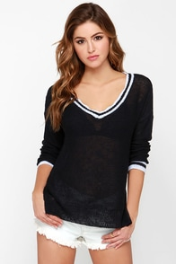 JOA V Old College Try Navy Blue Sweater at Lulus.com!