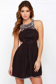 Billabong Sol Shining Embroidered Washed Black Dress at Lulus.com!