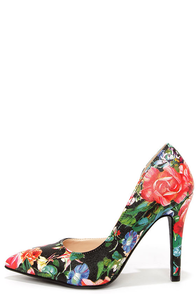 My Delicious Mitten Black Floral Print D'Orsay Pumps at Lulus.com!