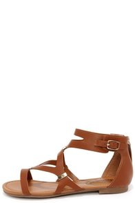 All Roads Lead to Rome Tan and Gold Gladiator Sandals at Lulus.com!