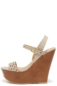 Trellis a Story Cement Grey Platform Wedge Sandals at Lulus.com!