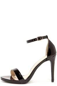 Dress Accordingly Black Patent Ankle Strap Heels at Lulus.com!