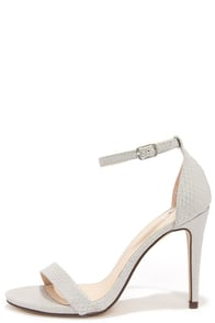 Dress Accordingly Silver Snakeskin Ankle Strap Heels at Lulus.com!