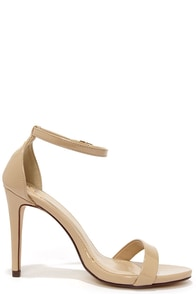 Beige Ankle Strap Heels - Qu Heel