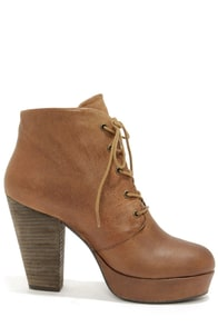 Steve Madden Raspy Cognac Leather High Heel Ankle Boots at Lulus.com!