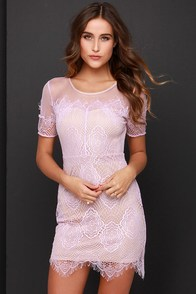 Silhouette it Be Beige and Lavender Lace Dress at Lulus.com!
