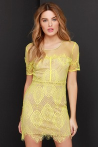 Silhouette it Be Beige and Lemon Yellow Lace Dress at Lulus.com!