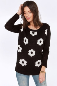 Element Eden Mary Jane Black Daisy Print Sweater at Lulus.com!