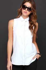 Button-Up Your Chances Ivory Sleeveless Button-Up Top at Lulus.com!