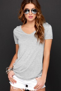 Let's V Friends Heather Grey Tee at Lulus.com!