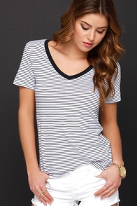 Don't Mean Maybe Navy Blue Striped Tee at Lulus.com!