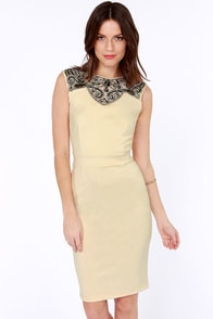 Little Mistress Jewel-in Around Beaded Cream Dress at Lulus.com!