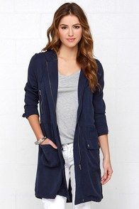 BB Dakota Finial Navy Blue Anorak Jacket at Lulus.com!