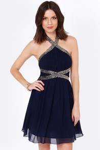 Little Mistress Hem and Awe Navy Blue Sequin Dress at Lulus.com!
