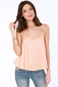 Would You Beam Mine Peach Sequin Top at Lulus.com!