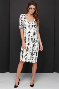 Marbled and All Black and Cream Print Midi Dress at Lulus.com!