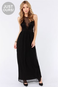 LULUS Exclusive Pleased as Plunge Black Maxi Dress
