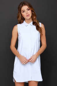 Set Sail-or Ivory and Blue Striped Shirt Dress at Lulus.com!
