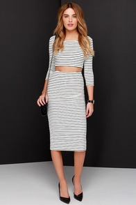 Across the Board Ivory Striped Pencil Skirt at Lulus.com!