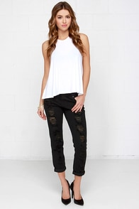Obey Ex-Boyfriend Distressed Black Boyfriend Jeans at Lulus.com!