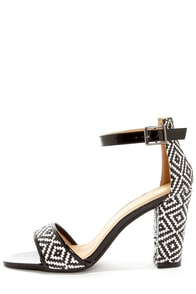 Chase & Chloe Vibe 1 Black and White Ankle Strap Heels at Lulus.com!