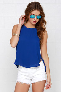 Elite Daily Blue Sleeveless Top at Lulus.com!