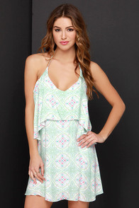 O'Neill June Green Print Halter Dress at Lulus.com!