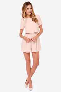 Tier We Go Again Peach Romper at Lulus.com!