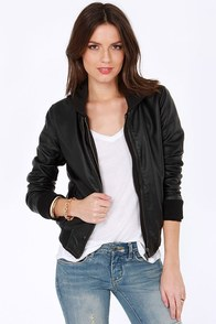 Obey Danger Zone Hooded Black Vegan Leather Jacket