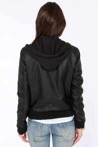 Obey Danger Zone Hooded Black Vegan Leather Jacket at Lulus.com!